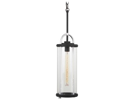 Minka Lavery Keyser Black / Silver Accent Glass Outdoor Hanging Light MGO7267432