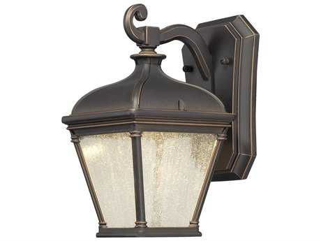 Minka Lavery Lauriston Manor Oil Rubbed Bronze with Gold Highlights Glass LED Outdoor Wall Light MGO72391143C