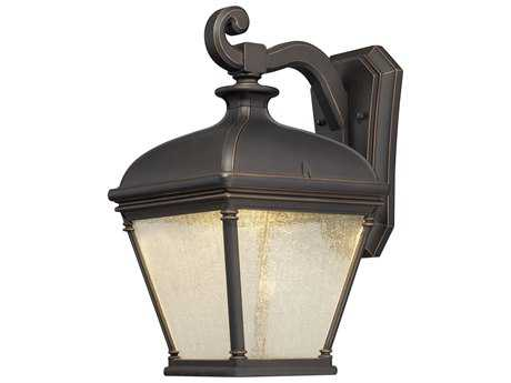 Minka Lavery Lauriston Manor Oil Rubbed Bronze with Gold Highlights Glass LED Outdoor Wall Light