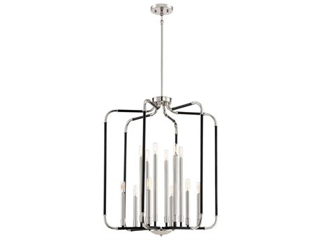 Minka Lavery Liege Matte Black with Polished Nickel 28'' Wide Industrial Pendant MGO4069572
