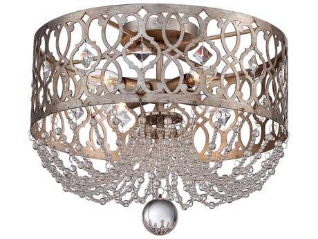 Minka Lavery Lucero Florentine Silver 16'' Wide Glass Crystal Flush Mount Light MGO4847276