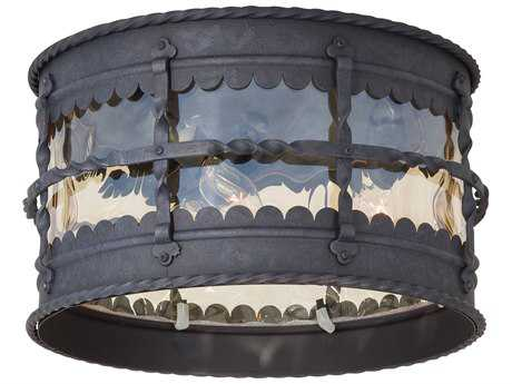 Minka Lavery Mallorca Spanish Iron Glass Outdoor Ceiling Light