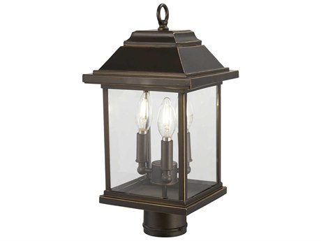 Minka Lavery Mariners Pointe Oil Rubbed Bronze / Gold Highlight Glass Outdoor Post Light