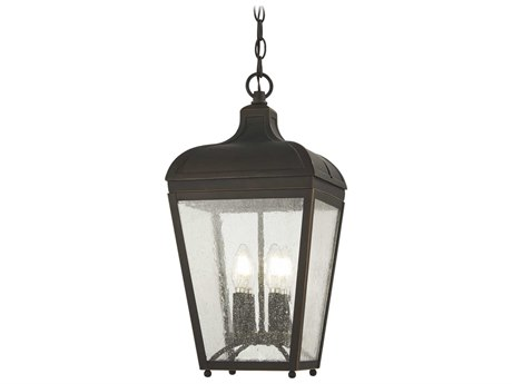 Minka Lavery Marquee Oil Rubbed Bronze / Gold Highlight Glass Outdoor Hanging Light