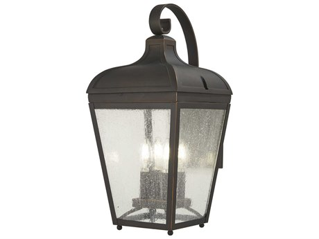 Minka Lavery Marquee Oil Rubbed Bronze / Gold Highlight Glass Outdoor Wall Light
