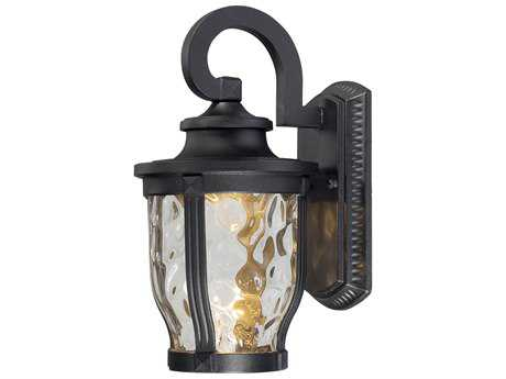 Minka Lavery Merrimack Black Glass LED Outdoor Wall Light MGO876166L