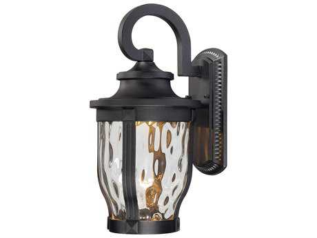 Minka Lavery Merrimack Black Glass LED Outdoor Wall Light MGO876266L