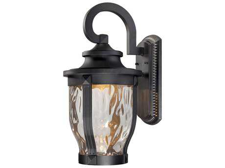 Minka Lavery Merrimack Black Glass LED Outdoor Wall Light MGO876366L