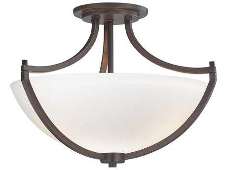 Minka Lavery Middlebrook Vintage Bronze 17'' Wide Glass Semi-Flush Mount MGO4932284
