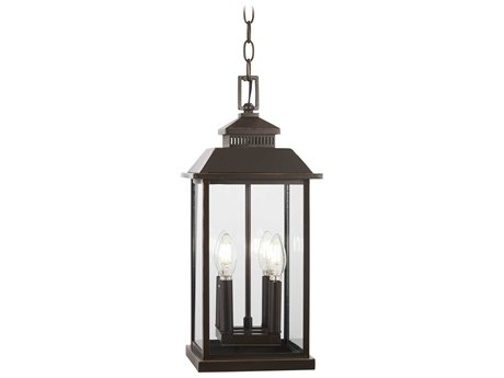 Minka Lavery Miners Loft Oil Rubbed Bronze / Gold Highlight Glass Outdoor Hanging Light