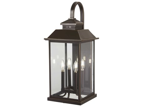 Minka Lavery Miners Loft Oil Rubbed Bronze / Gold Highlight Glass Outdoor Wall Light