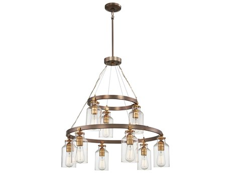 Minka Lavery Morrow Harvard Court Bronze with Gold Highlights 29'' Wide Glass Medium Chandelier
