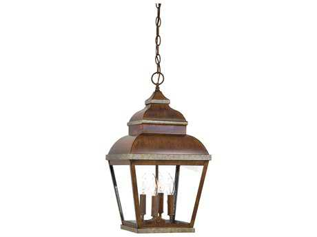 Minka Lavery Mossoro Walnut with Silver Highlights Glass Outdoor Hanging Light