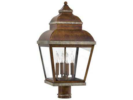 Minka Lavery Mossoro Walnut with Silver Highlights Glass Outdoor Post Light MGO8265161