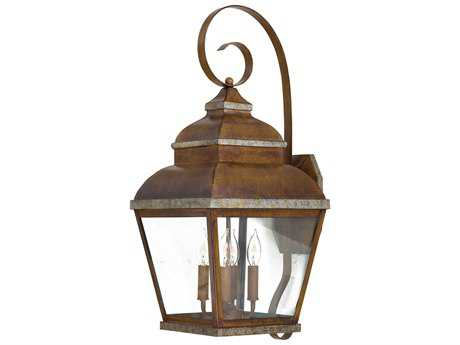 Minka Lavery Mossoro Walnut with Silver Highlights Glass Outdoor Wall Light