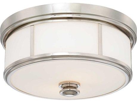 Minka Lavery Mount Polished Nickel 16'' Wide Glass Flush Light