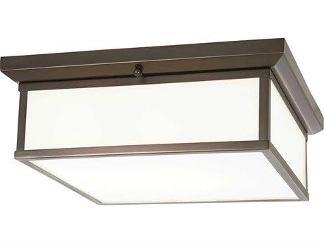 Minka Lavery Mount Harvard Court Bronze 16'' Wide Glass LED Flush Light