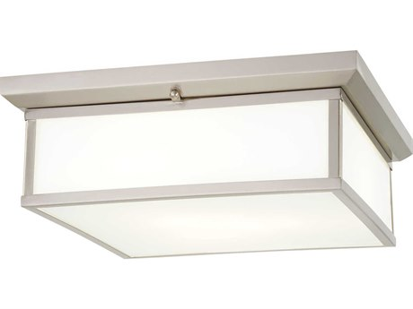 Minka Lavery Mount Brushed Nickel 16'' Wide Glass LED Flush Light