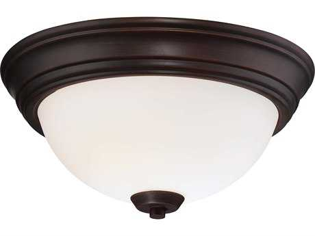Minka Lavery Overland Park Vintage Bronze 13'' Wide Glass Flush Mount Light MGO4960284