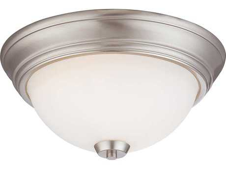 Minka Lavery Overland Park Brushed Nickel 13'' Wide Glass Flush Mount Light MGO496084