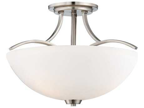Minka Lavery Overland Park Brushed Nickel 16'' Wide Glass Semi-Flush Mount MGO496284