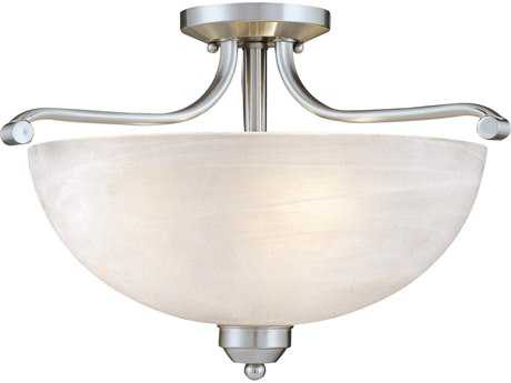 Minka Lavery Paradox Brushed Nickel 17'' Wide Glass Semi-Flush Mount MGO142484