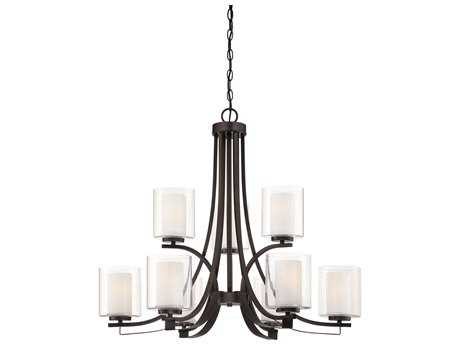 Minka Lavery Parsons Studio Smoked Iron 31'' Wide Glass Medium Chandelier