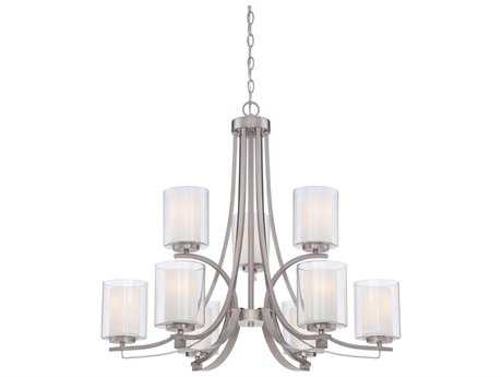 Minka Lavery Parsons Studio Brushed Nickel 31'' Wide Glass Medium Chandelier