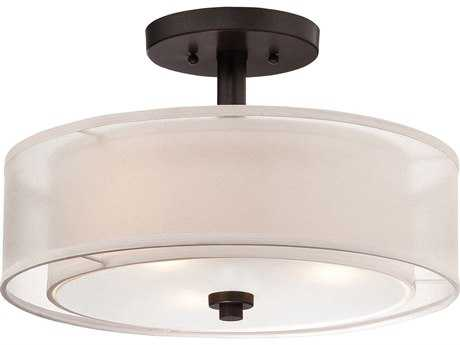 Minka Lavery Parsons Studio Smoked Iron 15'' Wide Semi-Flush Mount