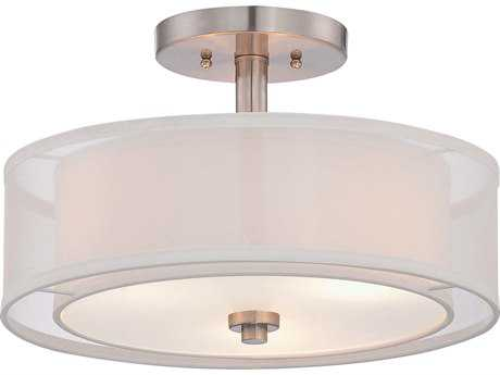 Minka Lavery Parsons Studio Brushed Nickel 15'' Wide Semi-Flush Mount