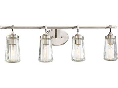 Minka Lavery Poleis Brushed Nickel Glass Industrial Vanity Light MGO230484
