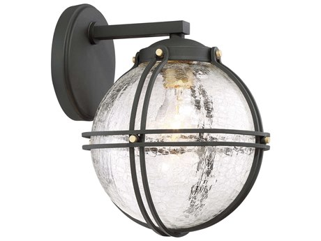 Minka Lavery Rond Black with Honey Gold Highlights Glass Industrial Outdoor Wall Light