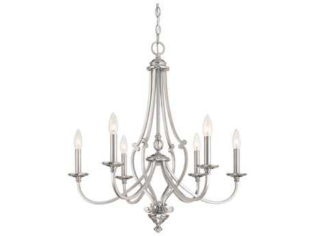 Minka Lavery Savannah Row Brushed Nickel Glass Medium Chandelier MGO333684