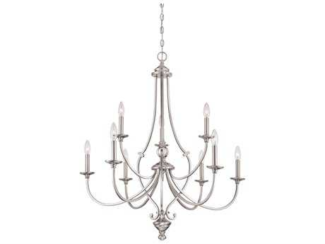 Minka Lavery Savannah Row Brushed Nickel Glass Medium Chandelier MGO333984