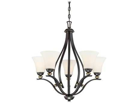 Minka Lavery Shadowglen Lathan Bronze with Gold Highlights Glass Medium Chandelier MGO3285589