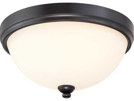 Minka Lavery Shadowglen Lathan Bronze with Gold Highlights Glass Flush Mount Light MGO3288589