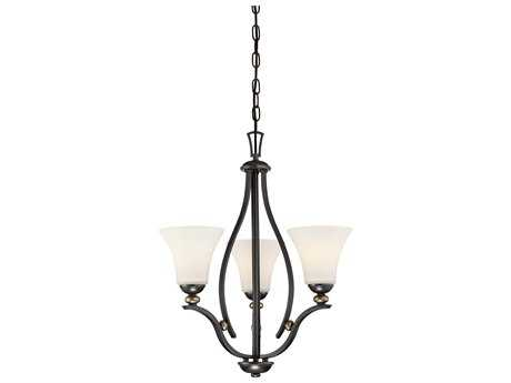 Minka Lavery Shadowglen Lathan Bronze with Gold Highlights Glass Mini Chandelier MGO3283589