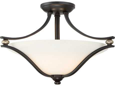 Minka Lavery Shadowglen Lathan Bronze with Gold Highlights Glass Semi-Flush Mount MGO3282589