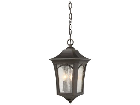 Minka Lavery Solida Oil Rubbed Bronze with Gold Highlights Glass Outdoor Hanging Light MGO71214143C