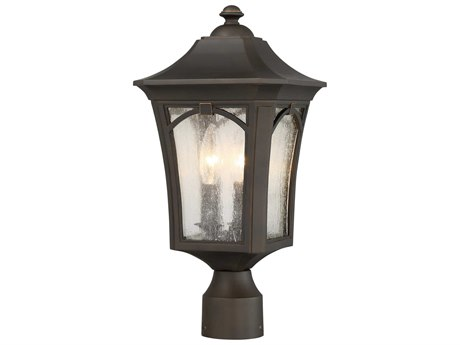 Minka Lavery Solida Oil Rubbed Bronze with Gold Highlights Glass Outdoor Post Light MGO71216143C