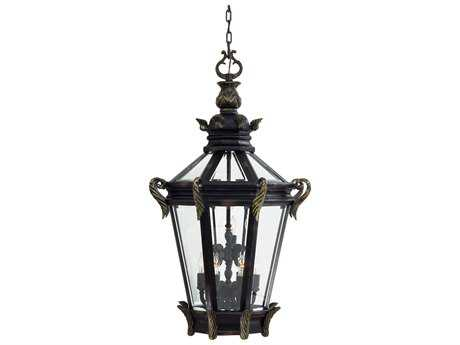 Minka Lavery Stratford Hall Heritage with Gold Highlights Glass Outdoor Hanging Light