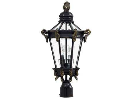 Minka Lavery Stratford Hall Heritage with Gold Highlights Glass Outdoor Post Light MGO893595
