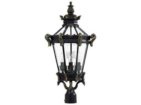 Minka Lavery Stratford Hall Heritage with Gold Highlights Glass Outdoor Post Light