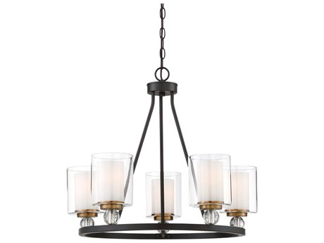 Minka Lavery Studio 5 Painted Bronze with Natural Brush 25'' Wide Glass Medium Chandelier