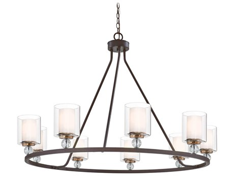 Minka Lavery Studio 5 Painted Bronze / Natural Brush 45'' Wide Glass Large Chandelier MGO3087416