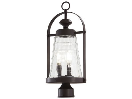 Minka Lavery Sycamore Trail Dorian Bronze Glass Outdoor Post Light