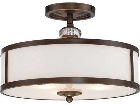 Minka Lavery Thorndale Dark Noble Bronze 15'' Wide Glass Semi-Flush Mount