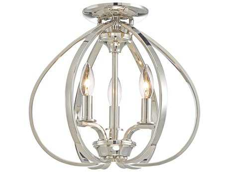 Minka Lavery Tilbury Polished Nickel Semi-Flush Mount