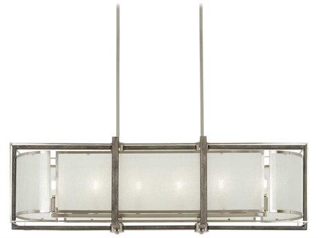 Minka Lavery Tysons Gate Brushed Nickel / Shale Wood 42'' Wide Glass Island Light MGO4569098