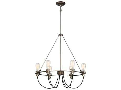 Minka Lavery Uptown Edison Harvard Court Bronze with Pewter Industrial Medium Chandelier
